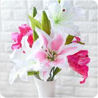 仿真花 塑料单支百合仿真塑料花客厅室内落地装饰插式仿真花