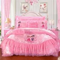 结婚床上用品四件套粉色蕾丝花边婚庆1.8/2.0m米床十件套 粉红色 缘定今生