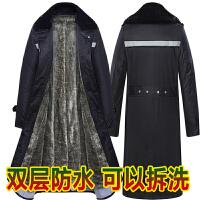 军大衣男冬季加厚长款保安黄大衣 多功能反光条棉大衣劳保大衣防寒服