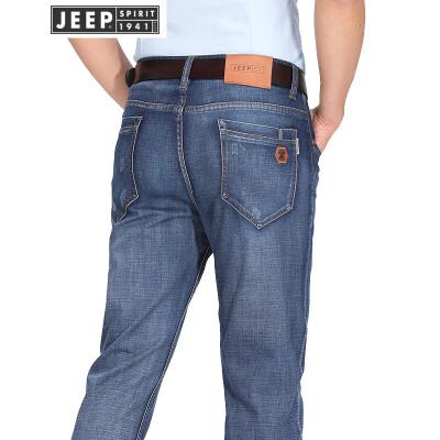 JEEP吉普牛仔长裤男2018春夏新款商务休闲长裤男士直筒弹力牛仔裤子