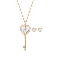 【网易考拉】【套装】SWAROVSKI 施华洛世奇 可旋转心形钥匙 项链耳钉套装 玫瑰金色