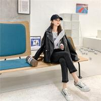 七格格黑色机车外套女韩版宽松2020新款春季PU皮棒球服夹克ins潮