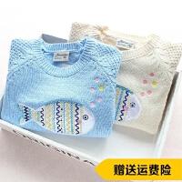 女童毛衣套头衫秋冬新款卡通小鱼贴布纯棉线毛线针织衫打底衫