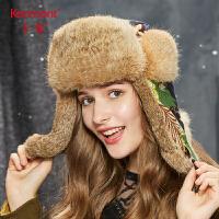 卡蒙皮草兔毛雷锋帽女户外保暖骑行加厚滑雪帽韩版甜美可爱护耳帽2691
