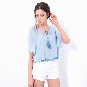 卓多姿夏装纯色系带流苏蕾丝雪纺衬衫734241