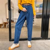 七格格牛仔裤女2019新款冬季高腰裤子显瘦百搭宽松洋气哈伦裤长裤