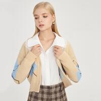 【2件3折 折后价:174】LILY女装经典英伦学院风菱形格钉珠片短款毛针织开衫