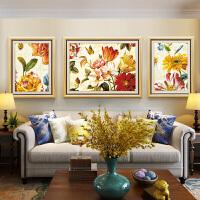 客厅装饰画沙发背景墙挂画大气繁花牡丹图壁画花开富贵花卉油画 110*85【中间】/65*85【左右】 整套价格