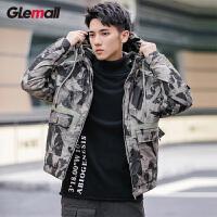 潮牌GLEMALL【防风抗皱】低调迷彩街头休闲工装口袋短款羽绒服男