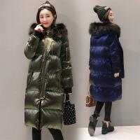 棉衣女中长款2017冬季新款真毛领连帽加厚面包服保暖外套