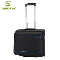 赛德纳商务拉杆箱单向轮旅行箱行李箱16英寸登机箱电脑箱出差软箱子布箱空姐箱横款 黑/宝蓝色