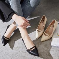 ZHR2018秋季新款韩版小清新高跟鞋细跟浅口单鞋尖头女鞋百搭鞋子