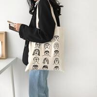 韩国帆布袋大容量布袋包中包 韩版学生帆布包女单肩布包 米白色(有拉链)