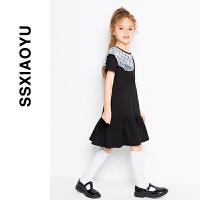 2020春夏新款女童法式翻领学院风短袖连衣裙