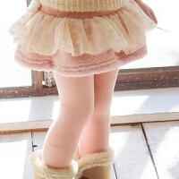 韩版童装2018冬季女童装蓬蓬纱蝴蝶结加绒打底裤儿童打加厚裙裤
