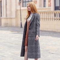 千鸟格子外套女秋冬季韩版修身显瘦翻领大衣女小个子长款过膝风衣