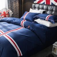 家纺简约欧美风全棉纯棉床上用品四件套欧式气质男三件套床单被子被套