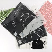 A4文件袋透明韩版小清新按扣学生用资料袋文具卡通试卷收纳袋12个