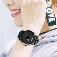 创意概念手表男中学生休闲时尚简约皮带石英表黑白韩版防水个性潮