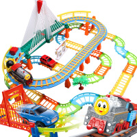 儿童电动轨道玩具车男孩玩具拖马斯小火车益智拼装轨道车套装