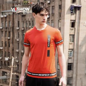 viishow夏装新款短袖t恤 欧美街头潮流短袖男 字母贴图t恤潮