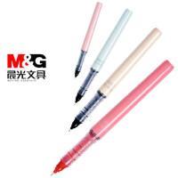 晨光走珠笔直液式签字笔全针管大容量控中裸色性笔水性黑速干笔
