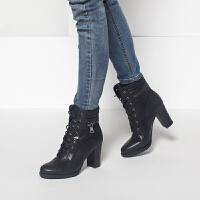 Daphne/达芙妮冬热卖 时尚韩版系带粗高跟时尚舒适短靴女鞋