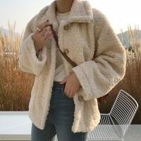 羊羔毛外套女2018新款韩版冬装棉衣短款bf宽松加绒加厚上衣保暖服