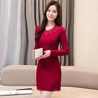 秋冬季加绒加厚女装修身蕾丝打底衫中长款长袖T恤包臀保暖上衣潮 酒红色(优质版 长袖)