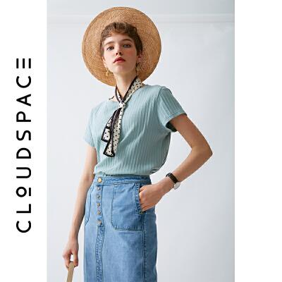 云上生活2019夏新纯色圆领t恤短袖复古套头T恤女T0566