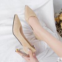 网红同款新款浅口女鞋高跟鞋女细跟单鞋中跟猫跟尖头女鞋子