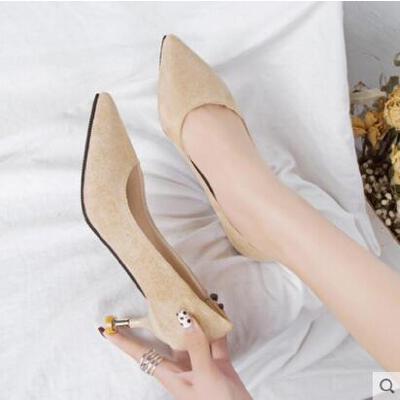 网红同款新款浅口女鞋高跟鞋女细跟单鞋中跟猫跟尖头女鞋子 品质保证 售后无忧