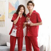 情侣睡衣开衫长裤红色睡衣男结婚本命年家居服套装 LS8822情侣一对(预售4月20号发货)