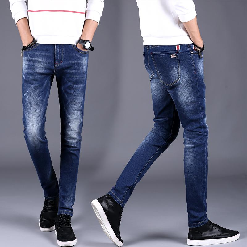 男士牛仔裤青年小脚裤休闲长裤子男潮流