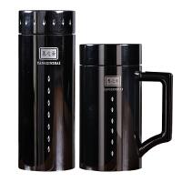 【品牌热卖】紫砂保温杯男大容量内胆便携茶杯商务男士泡茶水杯 黑色套装