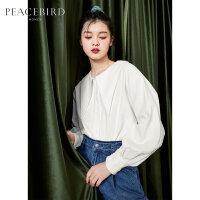 太平鸟灯芯绒衬衫女冬季2019新款韩版轻熟法式复古上衣女娃娃衫