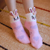 【促销价:仅18元】芬腾 棉袜女冬季新品保暖珊瑚绒女袜时尚立体柔软单条装短袜女