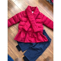辰妈家~女童品牌童装冬装棉衣 中小童红色带围巾荷叶下摆棉衣