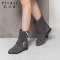 达芙妮正品女鞋冬季英伦风潮流短靴侧拉链平底皮带扣短筒女靴子