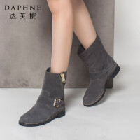 Daphne/达芙妮正品女鞋冬季英伦风潮流短靴侧拉链平底皮带扣短筒女靴子