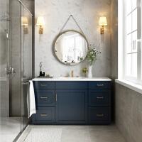 北欧浴室柜组合圆镜实木落地美式卫浴洗手池卫生间洗漱台洗脸面盆