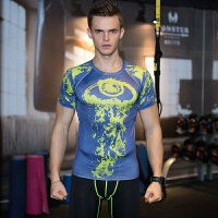 运动服饰男士健身服运动休闲训练紧身衣短袖弹力健身衣T恤速干透气跑步篮球训练服 蓝色