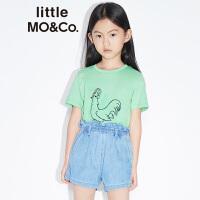 【折后价:71.7】littlemoco夏季新品男童T恤女童短袖公鸡素描印花圆领全棉T恤