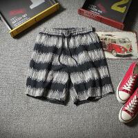 夏季日系条纹休闲短裤男士加肥加大码宽松五分裤潮流沙滩裤男裤子