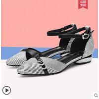 户外新品包头凉鞋新款平跟鞋子时尚女鞋大码百搭小跟鞋