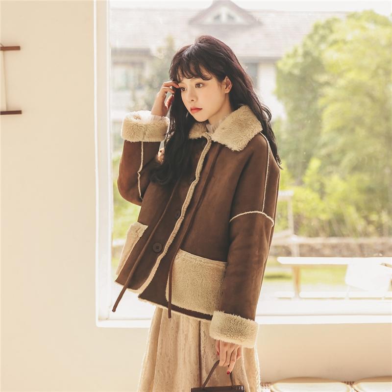 双面穿仿羊羔毛短外套2019冬季新款女装韩版宽松复古百搭洋气夹克