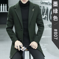 冬季新款商务呢子大衣男中长款青年英伦韩版修身毛呢外套风衣