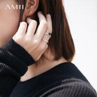 【会员节! 每满100减50】Amii[极简主义]简约格调 黑檀木镶嵌首饰女 时尚百搭合金戒指指环