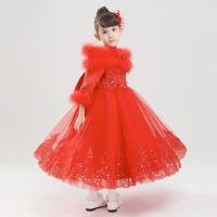 冬季加棉厚款圣诞节表演出服 花童礼服女童公主裙长袖女儿童婚纱裙