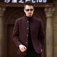 毛呢大衣男士短款秋冬新款中年爸爸装修身立领夹克男韩版休闲外套